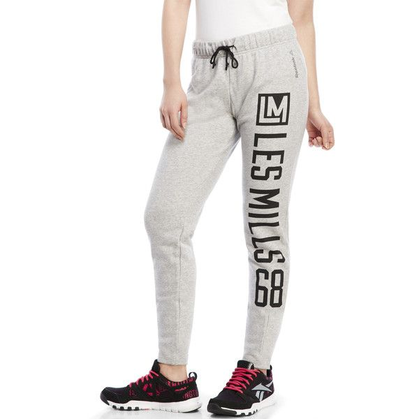 Reebok Les Mills Fitted Track Pants ($23) ❤ liked on Polyvore featuring activewear, activewear pants, grays, reebok, reebok sportswear, reebok activewear and track pants