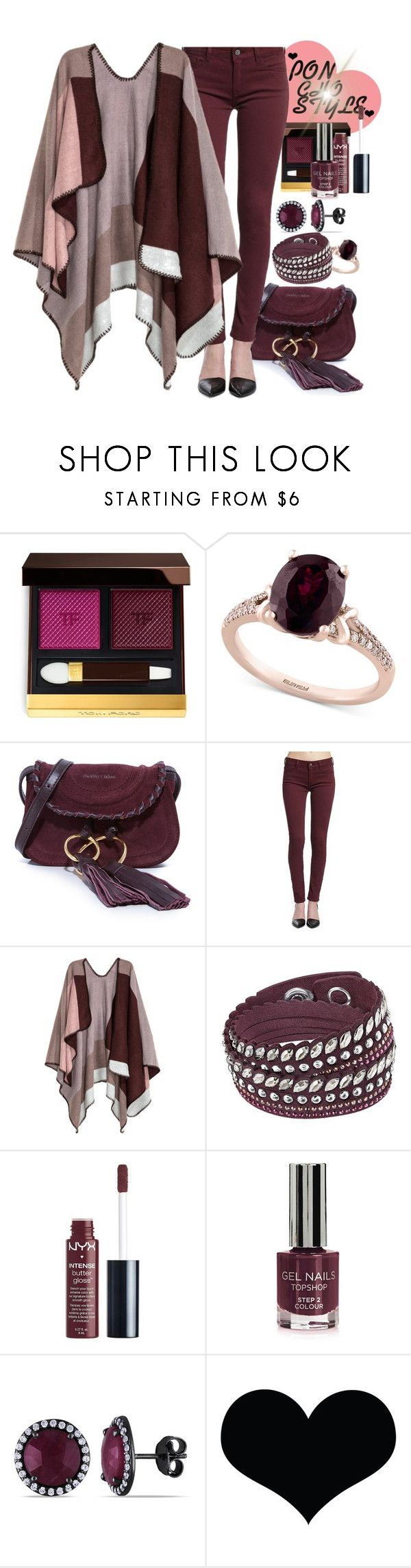 """Poncho Style"" by mmsbeg ❤ liked on Polyvore featuring Tom Ford, Effy Jewelry, See by Chloé, Mavi, H&M, Swarovski, Charlotte Russe, Topshop, Ice and Brika"