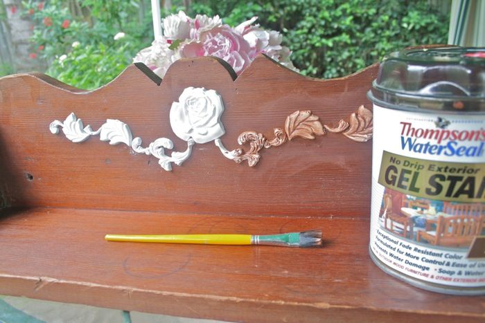 DIY:  How to Make Appliques that Look Like Carved Wood - an easy and inexpensive way to add details to a bland piece of furniture - via The Polka Dot Closet