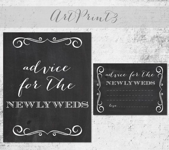 Advice for the Newlyweds Bridal Shower Game, Printable Bridal Shower Advice Cards and Sign, Chalkboard Bridal Shower Printable