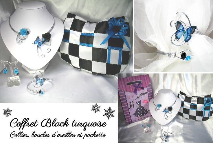 Coffret black turquoise noël perles cristal