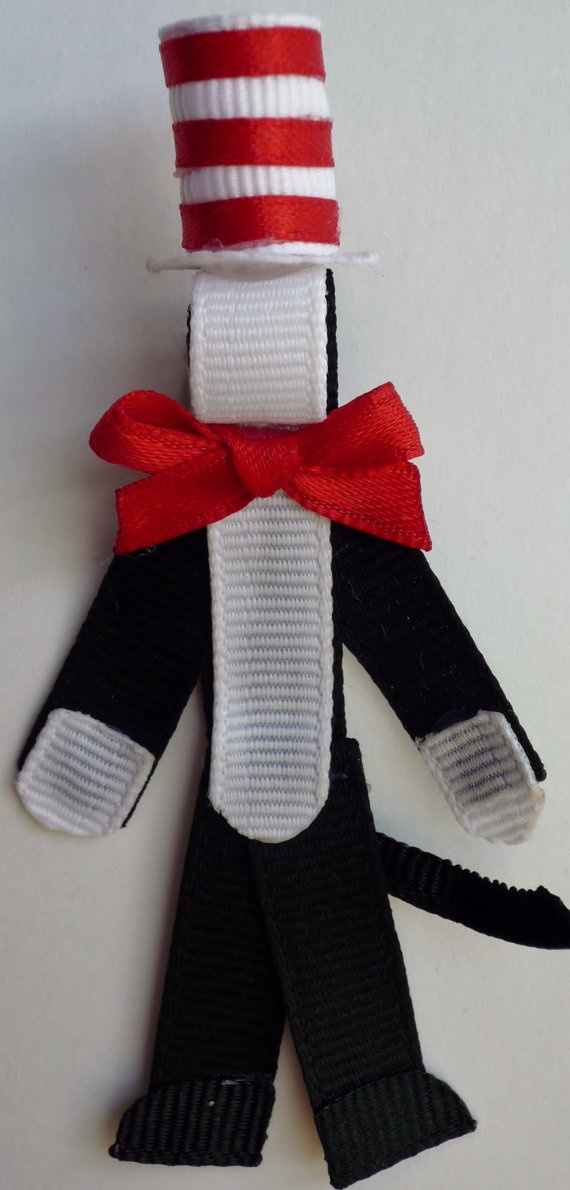 Cat in the Hat hair clip