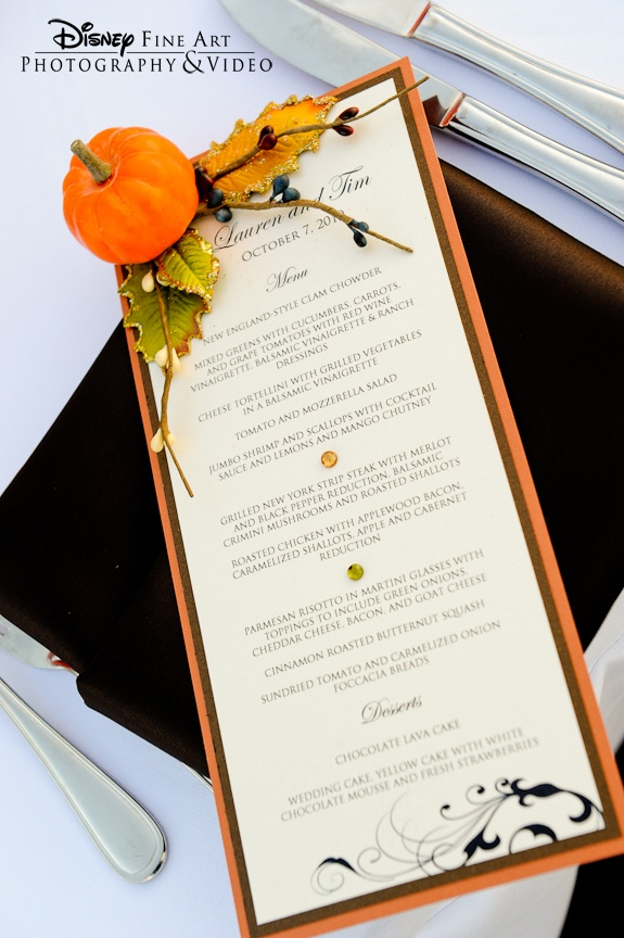 Pumpkin Fall Wedding Menus