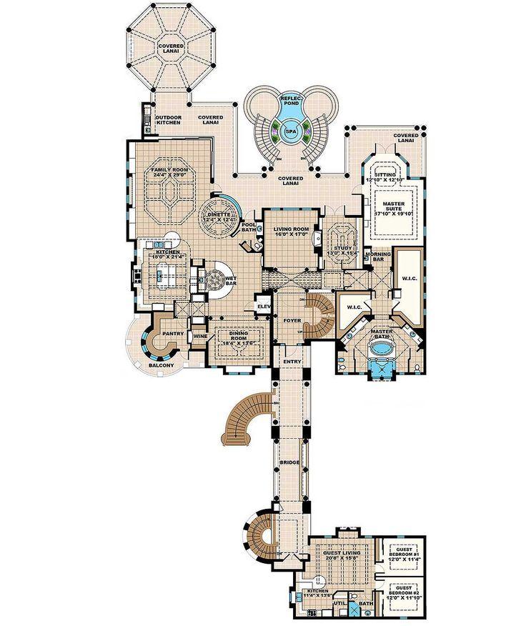 Photo Gallery On Website Grand Mediterrean Estate House Plan WE st Floor Master Suite Butler Walk