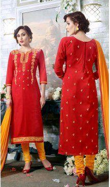Red Color Cotton Embroidery Casual Salwar Kameez | FH582385877 Follow us @heenastyle #casualwaer #designersuits #salwarkameez #anarkalis #indiandesigner #desifashion #bollywoodstyle #salwar #chudidar #indianfashion #traditional #beauty #desicouture #pakistani #pakistaniwedding #pakistanibride #southindian #couture #cottonsalwarkameez #embroiderysalwarkameez #straightcutsalwarkameez #churidarkameez #churidarsuits #churidardresses #casualsalwarkameez #casualdresses #casualsuits #heenastyle
