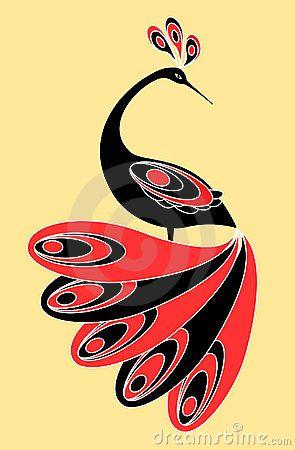 Decorative magic  bird. Vector illustration.