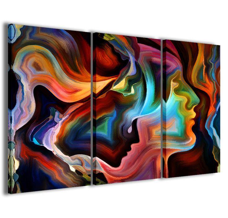 Stampe su tela 3pz 120x90cm abstract painting 011 quadri moderni astratti quadro