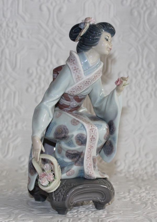 Lladro Porcelain Yuki Figurine Flower Basket Asian ...