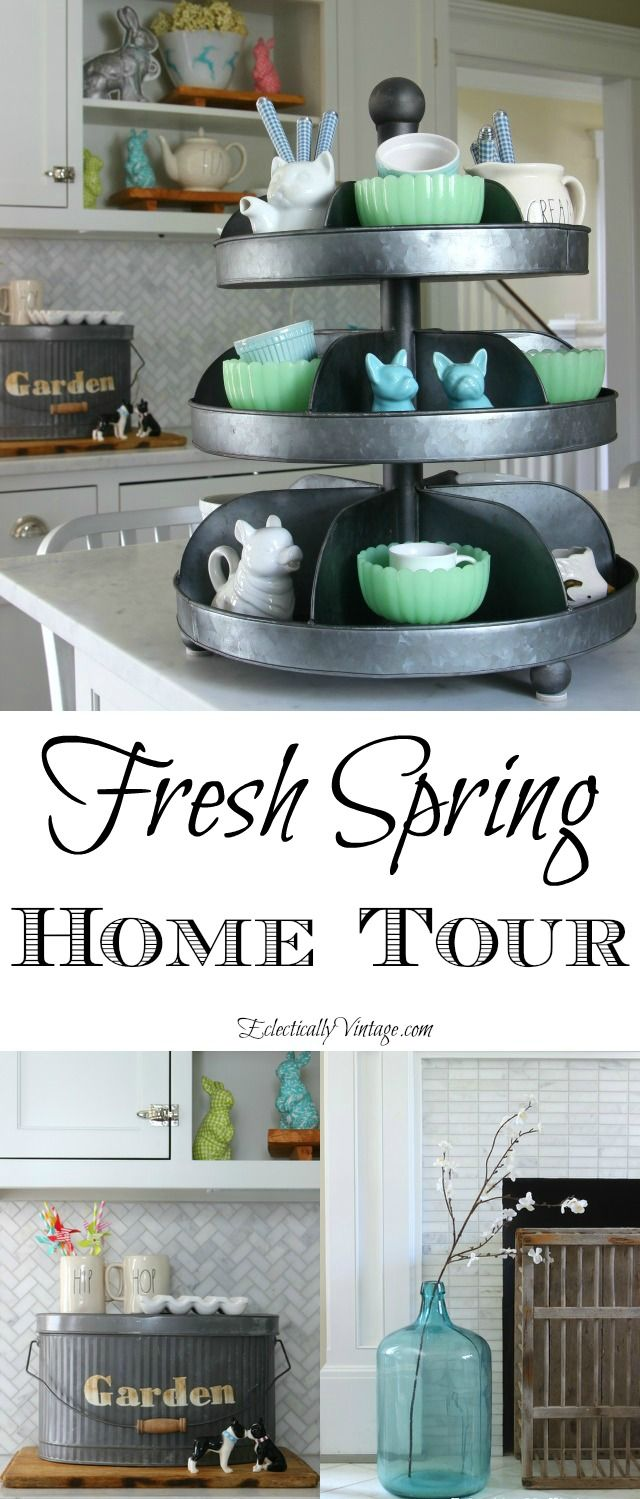 Fresh Spring Home Tour - so many creative decorating and DIY ideas! eclecticallyvintage.com