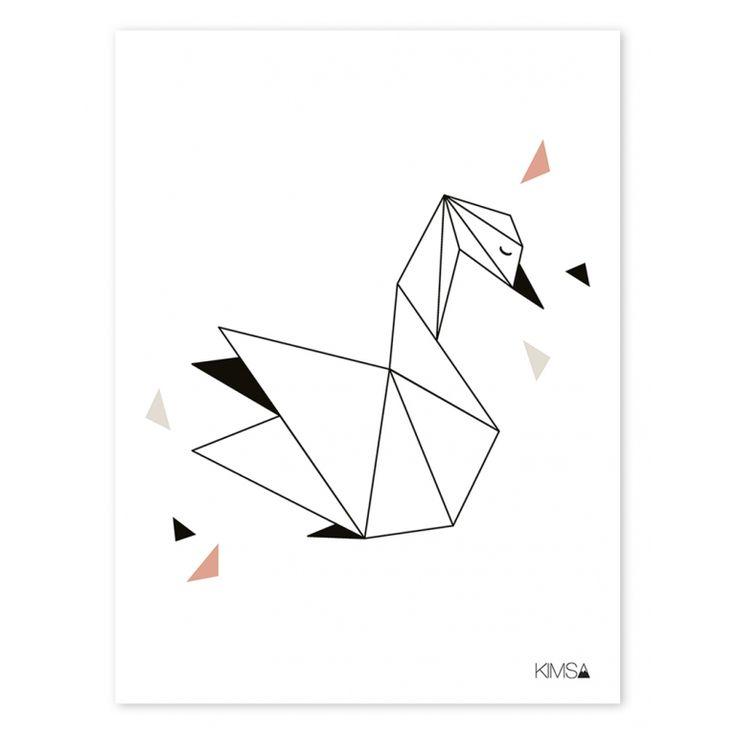 Kinderzimmer-Poster 'Origami-Schwan' schwarz/weiß 30x40cm