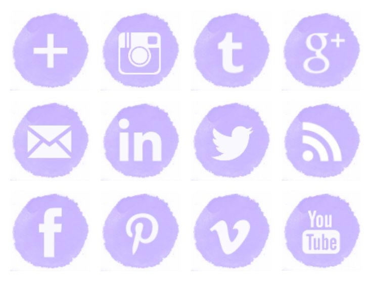 Free lilac watercolor social media icons wallpapers icon for Free social media icons for business cards