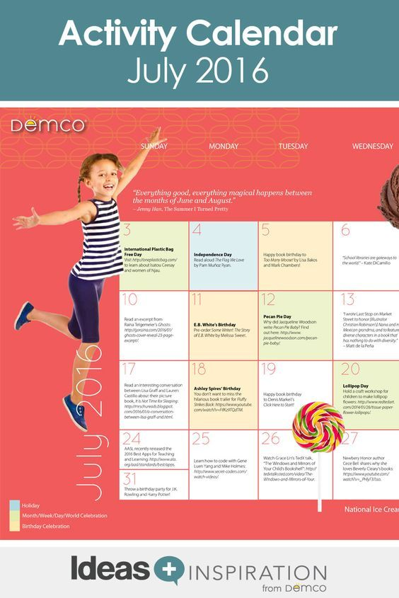 Calendar Ideas For July : Best images about free activity calendars on pinterest