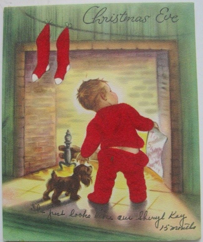 BOY IN FLOCKED RED PAJAMAS LOOKIN FOR SANTA VINTAGE CHRISTMAS GREETING CARD 50s