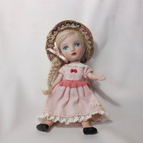 """6.5"""" FRENCH STYLE BISQUE HANDMADE ROSE DOLL WITH BLONDY HAIR BY WOOL"""