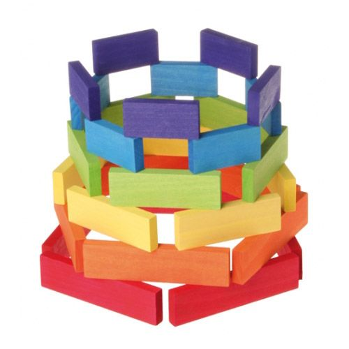 [Grimm's Spiel & Holz Design グリムス社]ドミノ積み木 小 カラー 30P ドイツ・グリムス社の美しい色彩の板状のドミノ積み木30ピースセット。集中力、想像力、手先の訓練に最適のシンプルな形の積み木です。