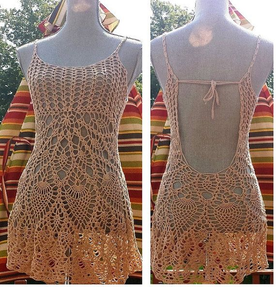 Beach mini dress / cover up / open back / lace by DearAlina