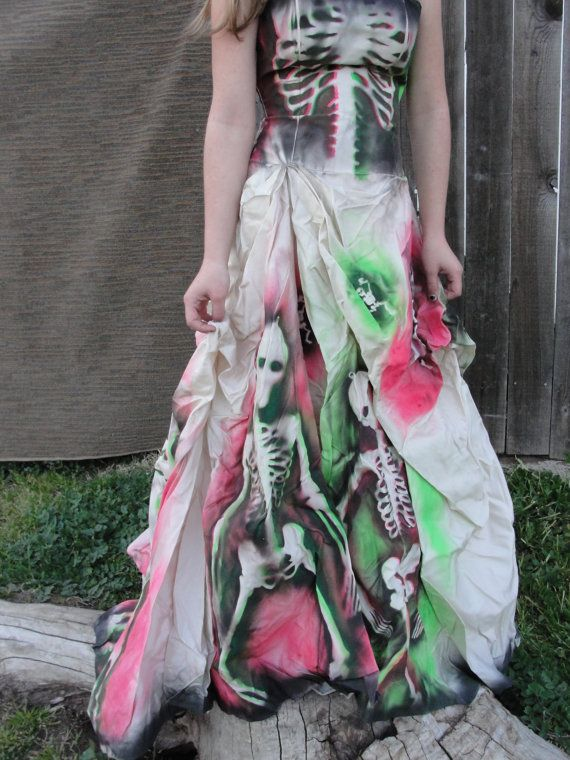 Small Hand Painted Skeleton Wedding Dress Dia De Los
