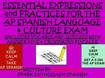 best ap spanish language and culture images  ap spanish language exam response resource vocabulary unit for students