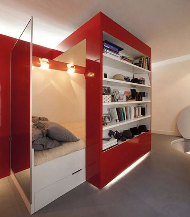 Too Much Red In My Opinion But Really Like The Movable Bookshelf To Hide The