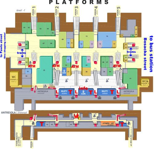 Layout of Krakow Glowny central train station (shows where the left luggage lockers are)