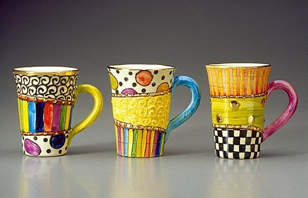 Mixed pattern mugs