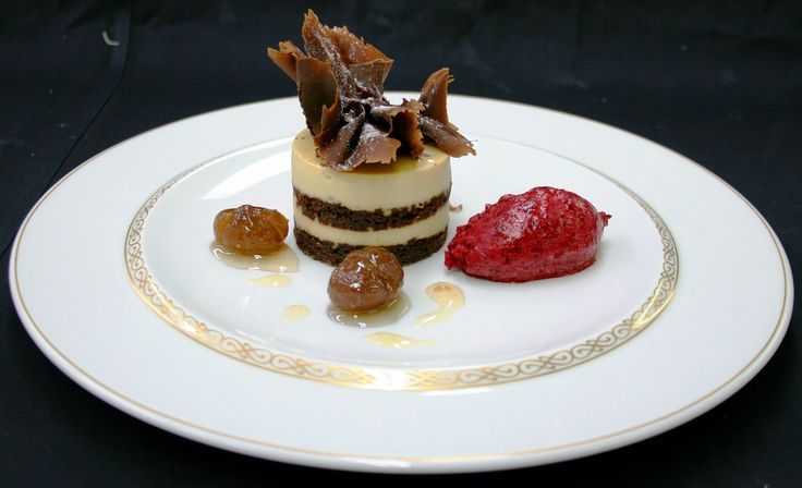 Chestnut Tiramisu, maron glace and morello cherry ice cream | by Peter Arthold