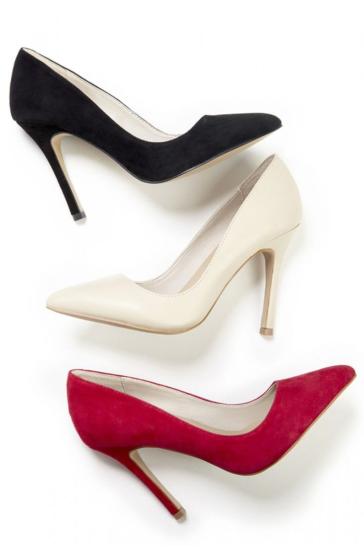 Classic high heel pumps with a pointed toe and flattering silhouette. The perfect desk-to-dinner shoe.