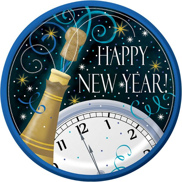 "When you want to pop the cork for New Year's, choose Happy New Year dinner plates. The 9 inch dinner plates show a champagne bottle with cork opening and a ""Happy New Year!"" message. Use them with oth"