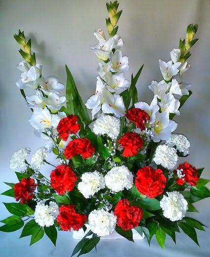 Como hacer un centro de flores artificiales con claveles y gladiolos