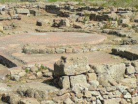 Mosaics on the floor of a house near the western gate of Megara Hyblaea.