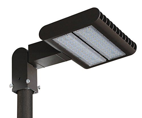 LED Shoebox Pole Light - 100W (300W-500W Eq.) - Street Parking Lot Lighting - FREE Dusk to Dawn Photocell - 5000K - 12,000 Lumen - 50,000h Lifespan - Outdoor - UL & DLC - Industrial & Commercial