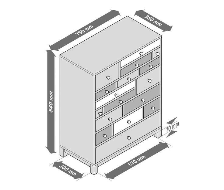 369,00 € Schubladenkommode aus Massivholz  Diese Kommode bietet mit 17 Schubladen in unterschiedlichen Größen jede Menge Stauraum. Sie ist aus hochwertigem Paulownia-Massivholz gefertigt und hat eine matt lackierte Oberfläche.