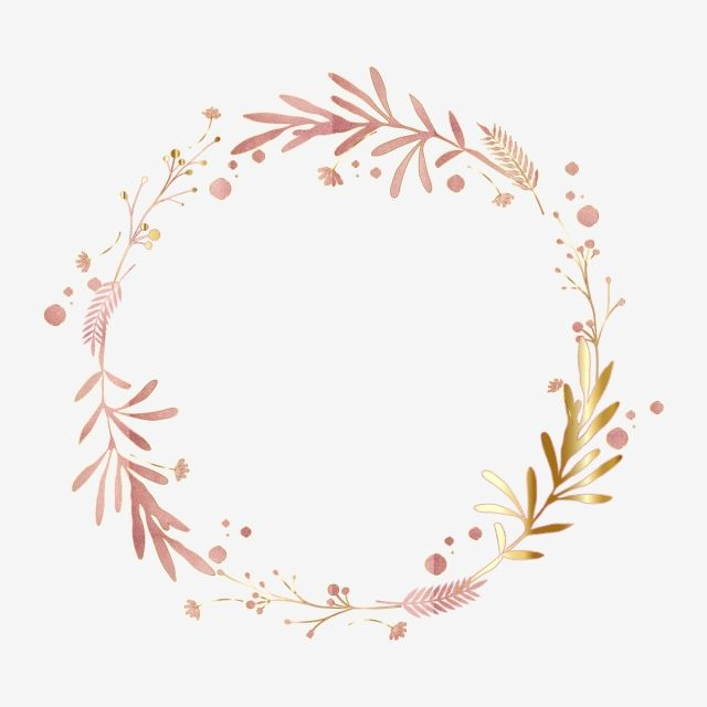Pink Gold Leaf Floral Wreath Border Luxurious Shading Rose Png And Vector With Transparent Background For Free Download Floral Border Design Pink And Gold Glitter Wallpaper