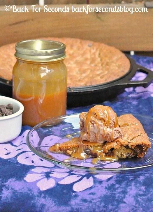 Salted Caramel Deep Dish Cookie Pie http://backforsecondsblog.com  #pie #dessert #saltedcaramel