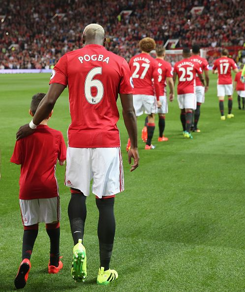 Paul Pogba of Manchester United walks out at Old Trafford ahead of the Premier…