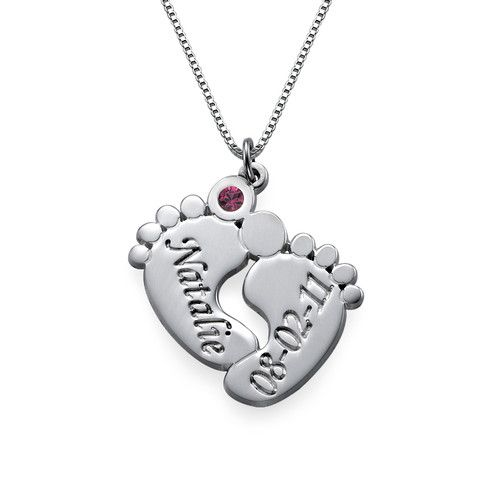 You may select any birthstone from the list below:One of the cutest ways to show off your children has to be our Personalized Baby Feet Necklace. Everyone loves baby feet jewelry and this baby feet necklace offers a unique personalized touch! Aside from getting two names engraved on the feet, you can also choose one Swarovski Crystal to add for a little extra something special. This necklace makes a great gift to any mom out there! The Personalized Baby Feet Necklace is make out of 0.925…