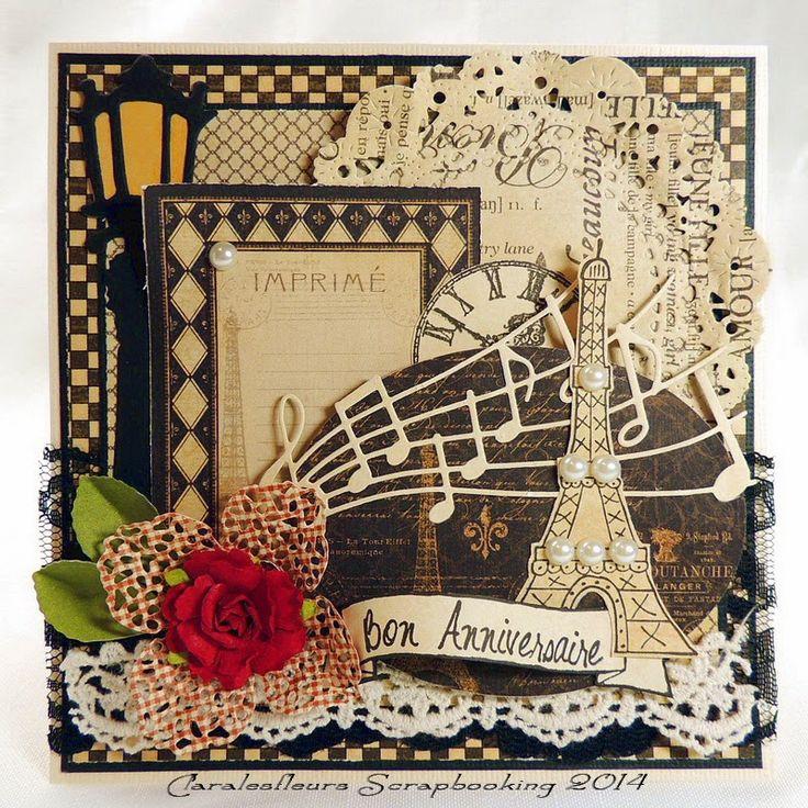 Claralesfleurs Scrapbooking: DT Simple à Souhait - nouvelle collection Bannière #1 sur une carte d'anniversaire avec Graphic45