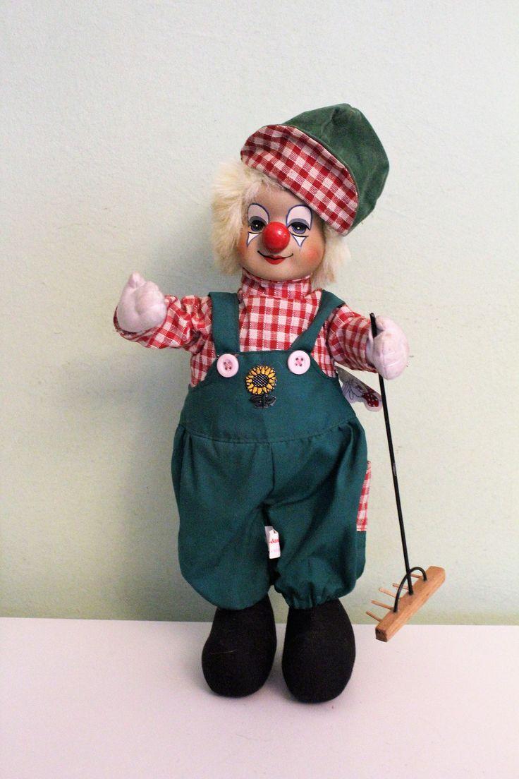 Vintage Ceramic Porcelain Clown With Wooden Rake, Gardener Clown Figurine, Farmer Clown, Green Outfit by Grandchildattic on Etsy