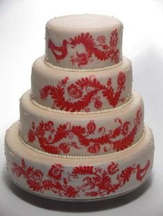 Hungarian designs on a layered (wedding?) cake