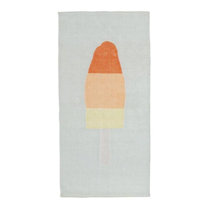 whkmp's own vloerkleed  (70x140 cm), Lichtblauw/oranje/geel
