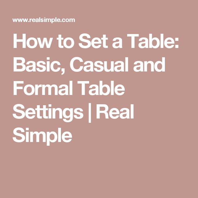 How to Set a Table: Basic, Casual and Formal Table Settings   Real Simple