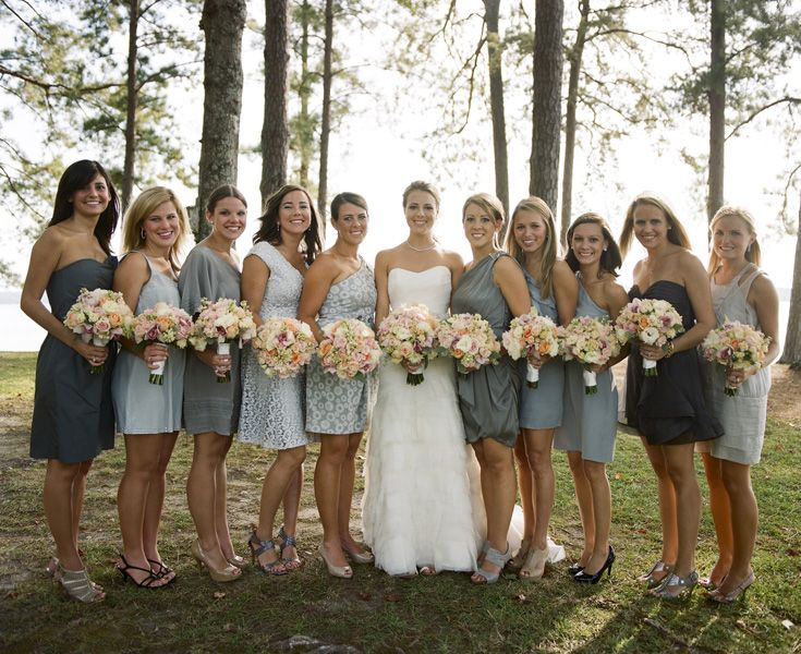 Shades of grey bridesmaids dresses oh man considering for Black and grey wedding dress