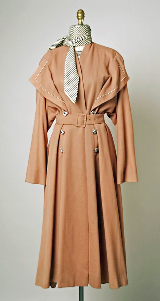 1940's Fashion, Pierre Balmain, Raincoat - 1949 - Vintage Teca estron raincoat - The Metropolitan Museum of Art