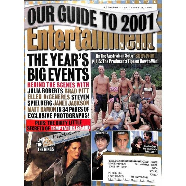 Cover Print of Entertainment Weekly, January 26 2001   $3.61