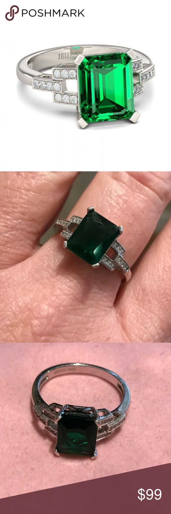 Jeulia Radiant Cut Created Emerald Setting Information > Metal:	Sterling Silver > Width:	1.40 mm > Weight:	4.01 Grams > Rhodium:	Yes. Give Platinum appearance. > Nickel Free:	yes  Primary Stone Information > Number of Stones:	1 Stone Type: 	Emerald > Stone Cut:	Radiant Stone Size:	8*10 mm > Setting Type:	Prong Nature:	Lab-Created Sidestones are 20 white cz  Sz app 9 Jewelry Rings
