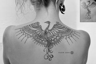 Piotr Szot - geometric dotwork phoenix