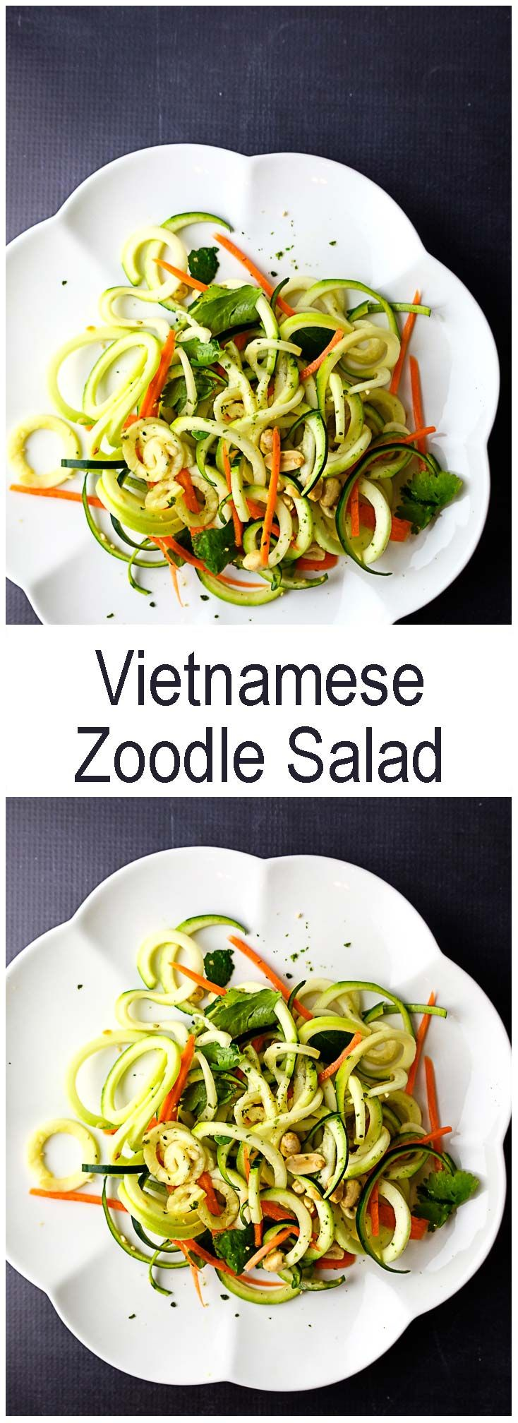 Zoodle Salad - Spiralized zucchini and carrots with Vietnamese flavors from mint and cilantro.  #spiralized #zoodles