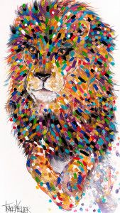 Jumping Lion Tracey Keller Lion Painting