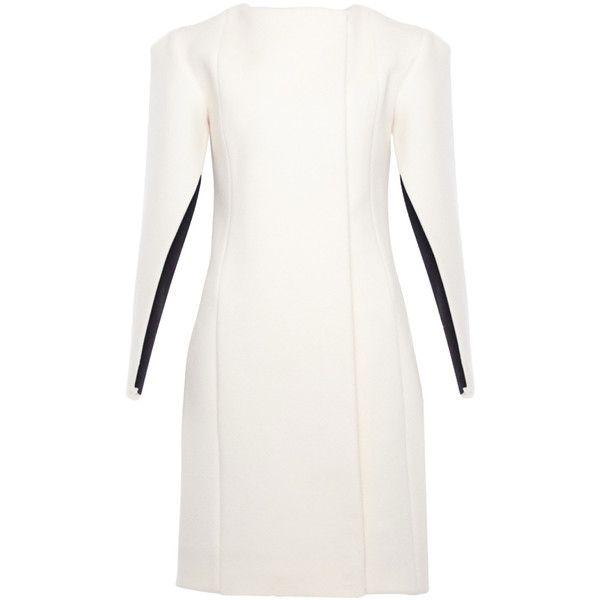 Yufash - Ivory Cape Coat (50.375 RUB) ❤ liked on Polyvore featuring outerwear, coats, dresses, ivory coat, white winter coat, white cape, white coat and cape coat