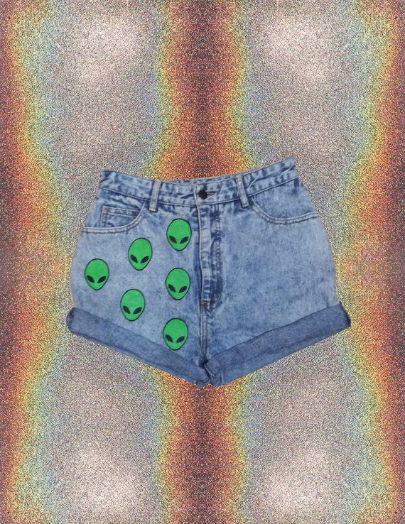 90s Grunge High-waisted Shorts // Alien // Alien Shorts // 90s // Grunge // Space // Space Grunge // Punk // Bongo Shorts on Etsy, $30.00